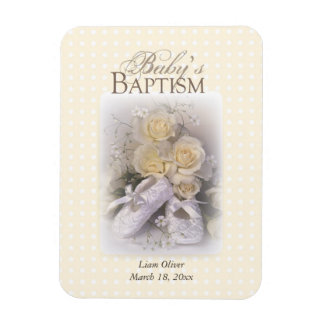 Baby's Baptism Neutral ,  Customizable Name Magnet