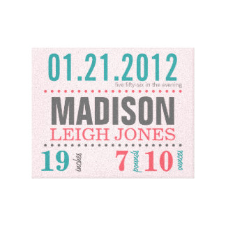 Baby's Birth Date Details Canvas - Cotton Candy