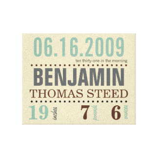 Baby's Birth Date Details Canvas - Sand & Sea Canvas Print