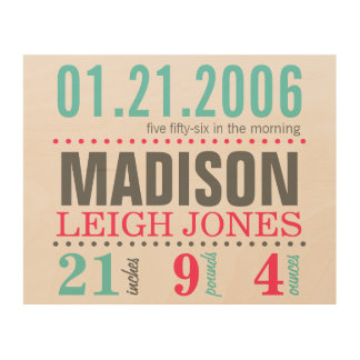 Baby's Birth Date Details - Cotton Candy Wood Wall Art