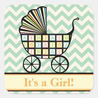 Baby's Blocks Stroller Announcement Sticker