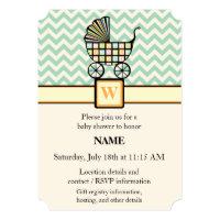 Baby's Blocks Stroller Baby Shower Invitation