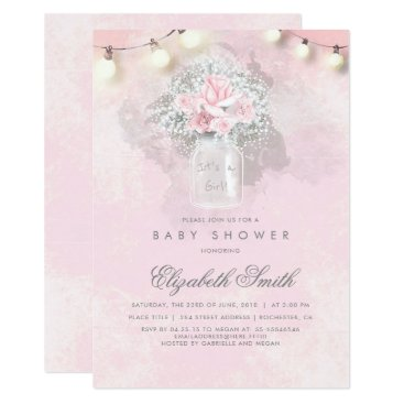 Toddler & Baby themed Baby's Breath and Pink Roses Rustic Baby Shower Card