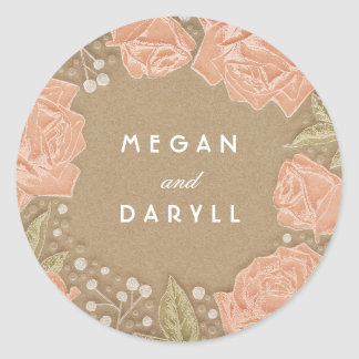 Baby's Breath and Roses Floral Bouquet Wedding Classic Round Sticker