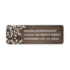 Baby's Breath Barn Wood Wedding Address Labels