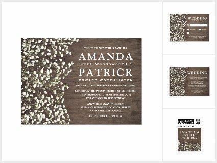 Baby's Breath Barn Wood Wedding Invitations Set
