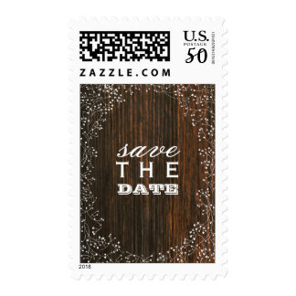 Baby's Breath Barnwood Save The Date Postage