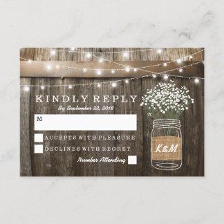 Baby's Breath Barrel Country Rustic Wedding RSVP