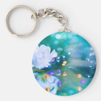 Baby's Breath Blue Basic Round Button Keychain
