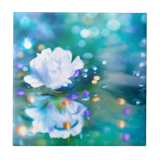 Baby's Breath Blue Ceramic Tile