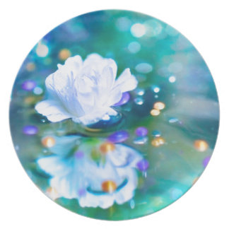 Baby's Breath Blue Melamine Plate