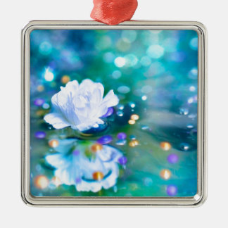 Baby's Breath Blue Metal Ornament
