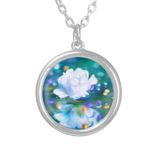 Baby's Breath Blue Round Pendant Necklace