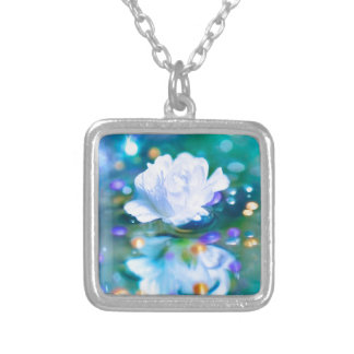 Baby's Breath Blue Square Pendant Necklace