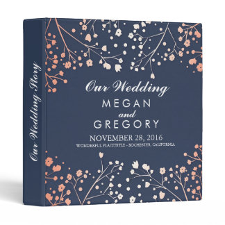 Baby's Breath Blush and Navy Wedding Binder