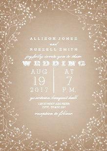 babys breath border cardstock inspired invitation - Invitation Card Stock