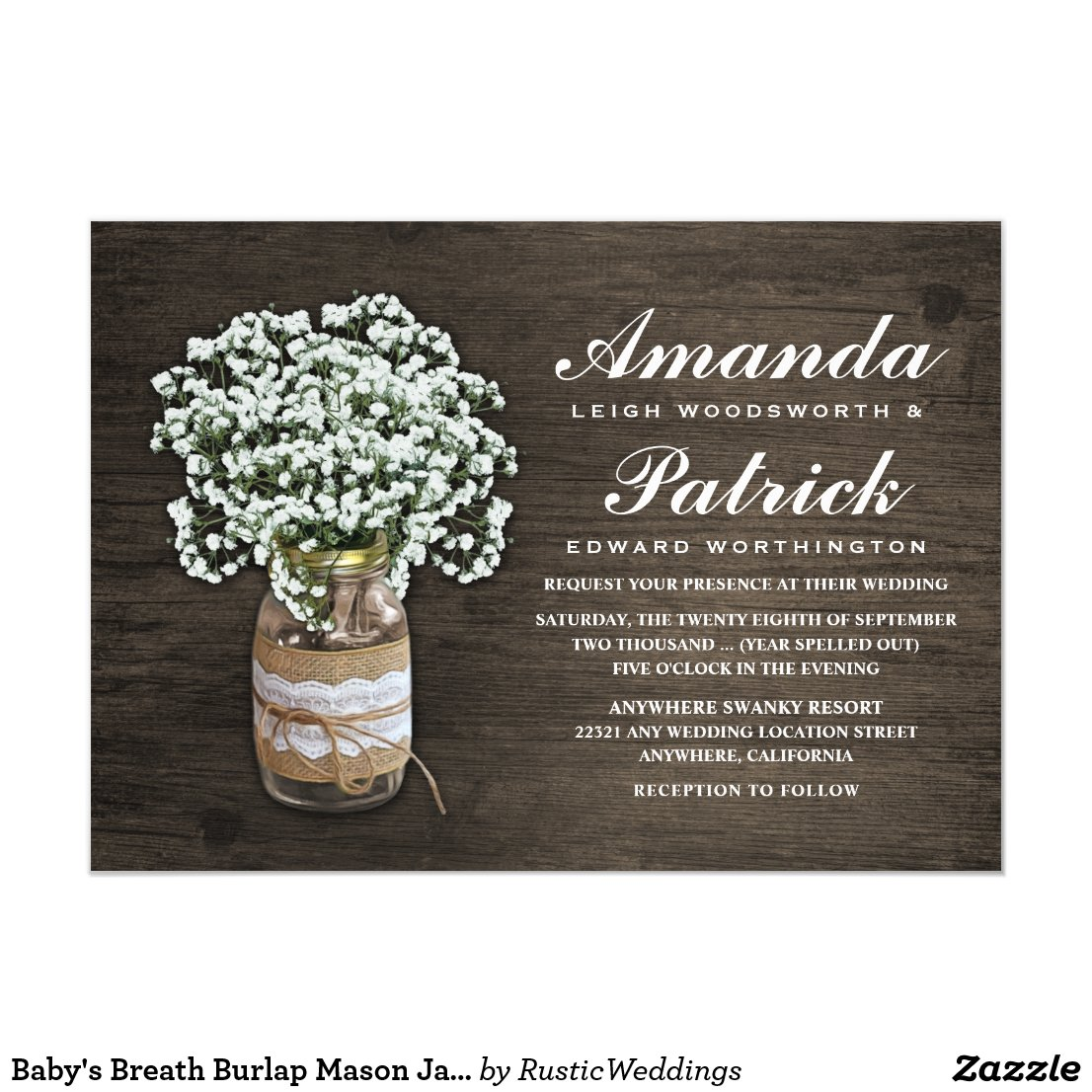 Baby's Breath Burlap Mason Jar Wedding Invitations