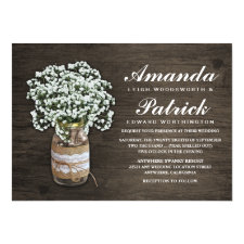 Baby's Breath Burlap Mason Jar Wedding Invitations