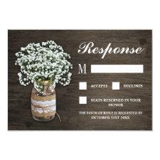 Baby's Breath Burlap Mason Jar Wedding RSVP Cards