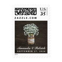 Baby's Breath Burlap Mason Jar Wedding Stamps
