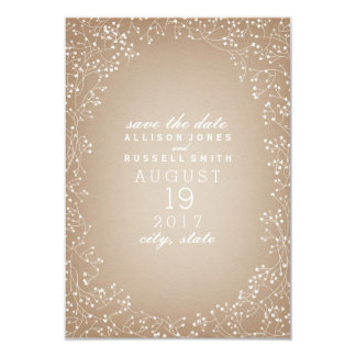 Baby's Breath Cardstock Inspired Save The Date 3.5x5 Paper Invitation Card