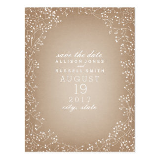 Baby's Breath Cardstock Inspired Save The Date Postcard