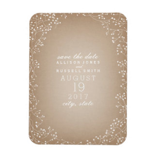Baby's Breath Cardstock Inspired Save The Date Rectangular Photo Magnet