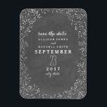 "Baby&#39;s Breath Chalkboard Inspired Save The Date Magnet<br><div class=""desc"">An elegant rustic wedding save the date magnet featuring a border of baby&#39;s breath over a chalkboard inspired background.  Personalize the text with details of your occasion.  Look for matching wedding invitations and other coordinating items at Jill&#39;s Paperie.</div>"