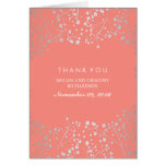 Baby's Breath Coral and Silver Wedding Thank You Card