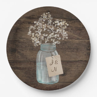 Baby's Breath Country Floral Mason Jar Wedding Paper Plate