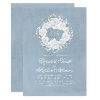 Baby's Breath Dusty Blue Floral Wedding Card
