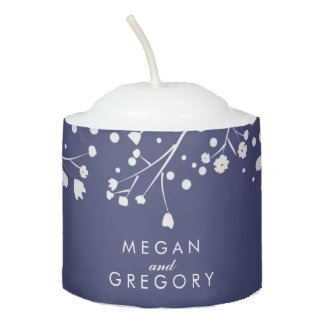 Baby's Breath Elegant Navy and Silver Wedding Votive Candle