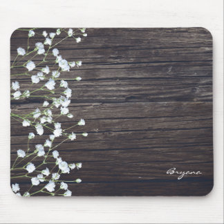 Baby's Breath Floral & Dark Rustic Wood Country Mouse Pad