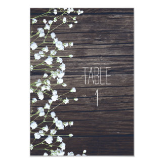 Baby's Breath Floral Dark Rustic Wood Table Number Card