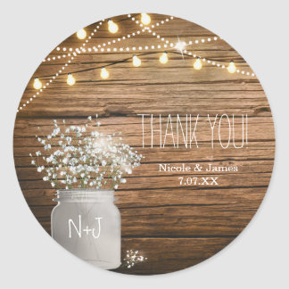Baby's Breath Floral in Rustic Mason Jar & Lights Classic Round Sticker