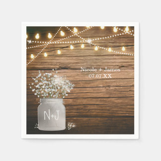 Baby's Breath Floral in Rustic Mason Jar & Lights Paper Napkin