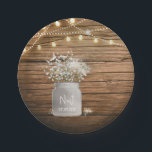 "Baby&#39;s Breath Floral in Rustic Mason Jar &amp; Lights Paper Plate<br><div class=""desc"">Baby&#39;s Breath Floral in Rustic Mason Jar &amp; Lights Plates. Customize with any text. Matching items are available.</div>"