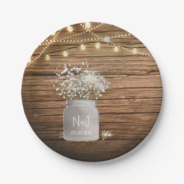 printabledigidesigns Baby's Breath Floral in Rustic Mason Jar & Lights Paper Plate