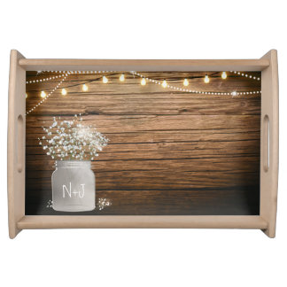 Baby's Breath Floral in Rustic Mason Jar & Lights Serving Tray