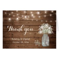 Baby's Breath Floral Mason Jar Lights Thank You Card