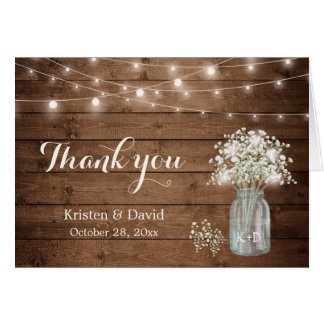 Baby's Breath Floral Mason Jar Lights Thank You Card