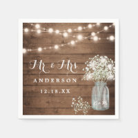 Baby's Breath Floral Mason Jar Rustic Wood Wedding Napkins