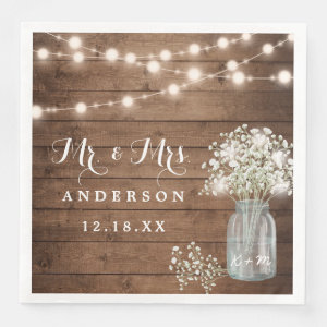 Baby's Breath Floral Mason Jar Rustic Wood Wedding Paper Dinner Napkin