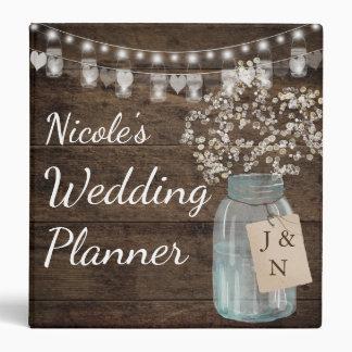 Baby's Breath Floral Mason Jar Wedding Binder
