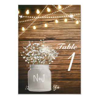 Baby's Breath Floral Rustic Mason Jar Table Number