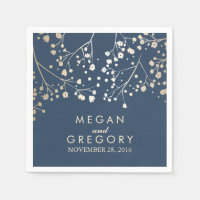 Baby's Breath Foil Navy Wedding Paper Napkin