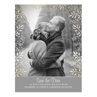 Baby's Breath Foil Photo Save the Date Postcard