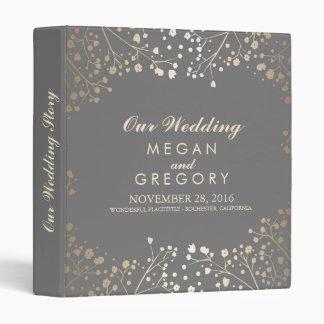 Baby's Breath Gold and Grey Wedding 3 Ring Binder