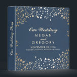 """Baby&#39;s Breath Gold and Navy Wedding Binder<br><div class=""""desc"""">Baby&#39;s breath gold floral branches navy blue binders</div>"""