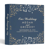 Baby's Breath Gold and Navy Wedding Binder